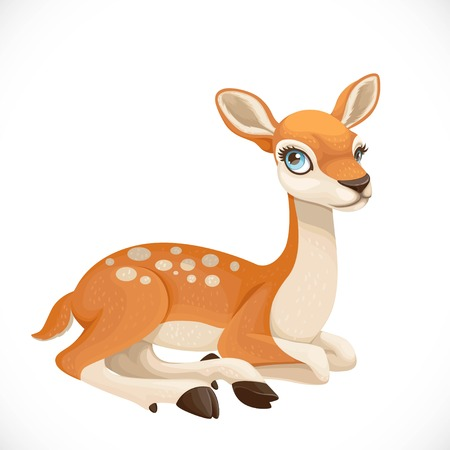 Cute cartoon spotted deer lay on white background