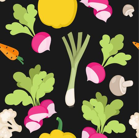 Seamless pattern from fresh vegetables radishes, carrots, bell pepper, shallots on a black background