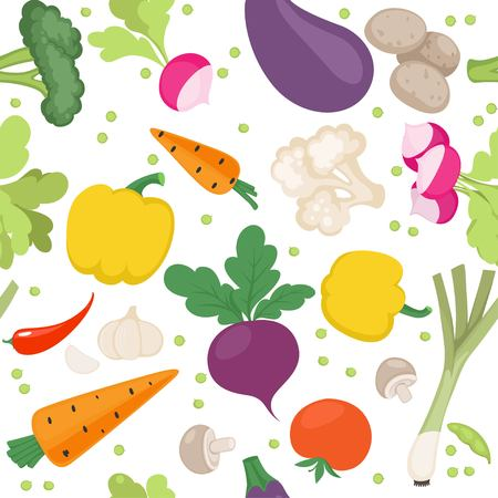 Seamless pattern from fresh vegetables radishes, carrots, tomatoes, beets, mushrooms, shallots on a white background Illustration
