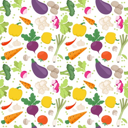 Seamless pattern from fresh vegetables radishes, carrots, tomatoes, beets, shallots on a white background Illustration
