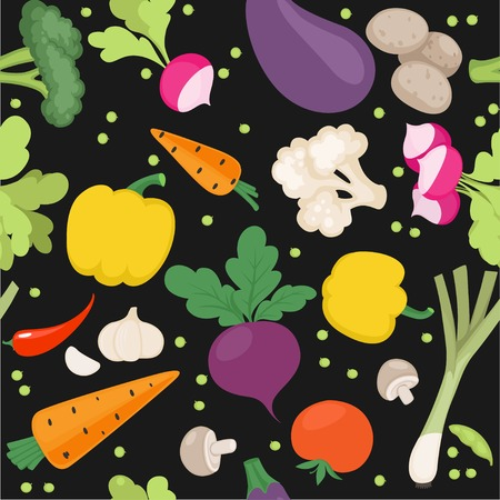 Seamless pattern from fresh vegetables radishes, carrots, tomatoes, beets, shallots on a black background