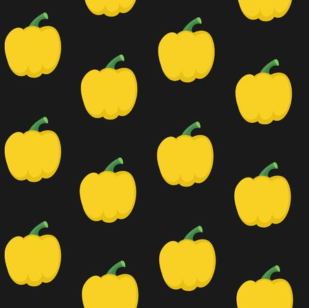 Seamless pattern from fresh yellow bell peppers on a black background Иллюстрация