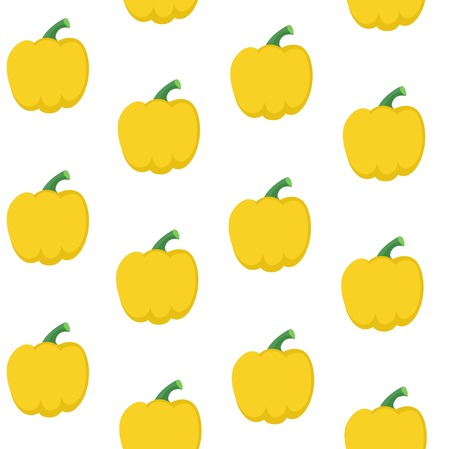Seamless pattern from fresh yellow bell peppers on a white background