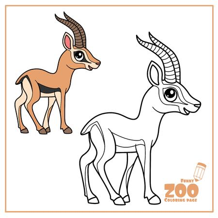 Cute cartoon little gazelle color and outlined on a white  for coloring page