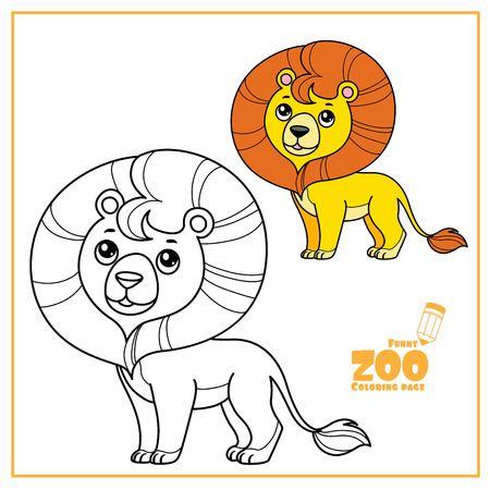 Color de dibujos animados lindo pequeño león y delineado en un blanco para colorear página