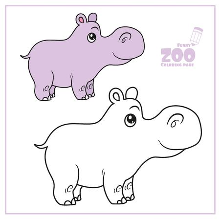 Cute cartoon little hippo color and outlined on a white  for coloring page