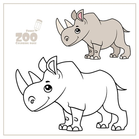 Cute cartoon little rhinoceros color and outlined on a white for coloring page