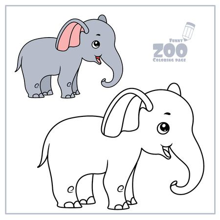 Cute cartoon little elephant color and outlined on a white for coloring page