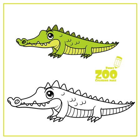 Simpatico cartone animato piccolo coccodrillo verde color e delineato su un bianco per la pagina da colorare Vettoriali