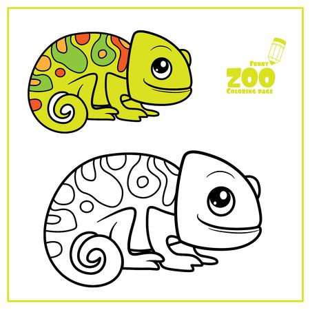 Cute cartoon little chameleon color and outlined on a white  for coloring page