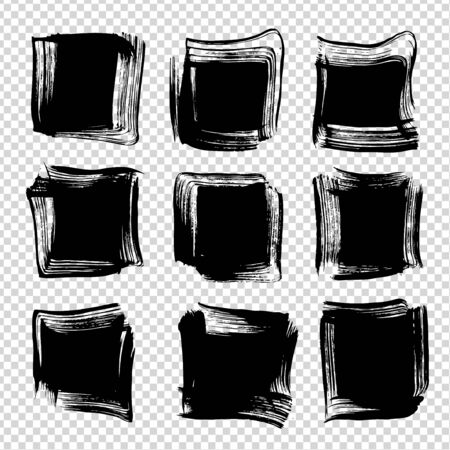 Abstract textured big black ink square brushstrokes isolated on imitation transparent