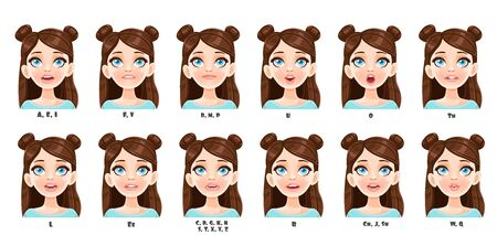 Cute cartoon brunette girl talking mouth animation. Illustration