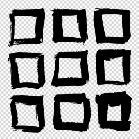 Square frames from black brushstrokes abstract textured big set isolated on imitation transparent