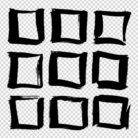 Square frames from black ink brushstrokes abstract textured big set isolated on imitation transparent