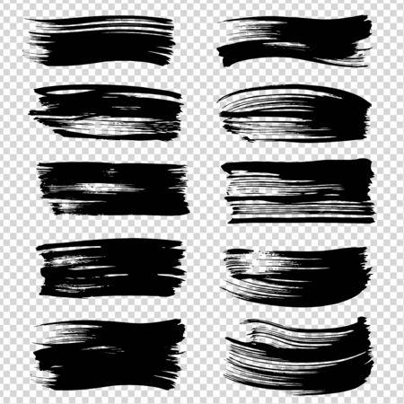Straight black brushstrokes textured big set isolated on imitation transparent background