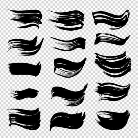 Textured abstract black ink brushstrokes set isolated on imitation transparent Ilustracja
