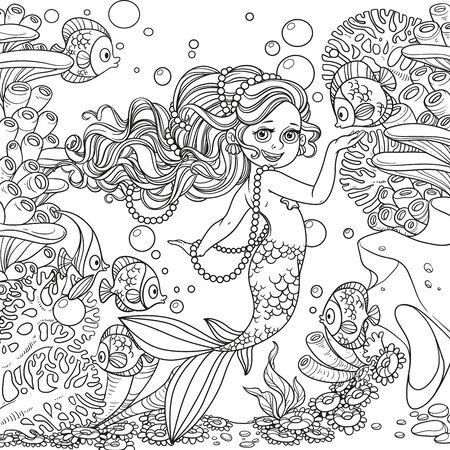 Beautiful little mermaid girl on underwater world with corals and anemones