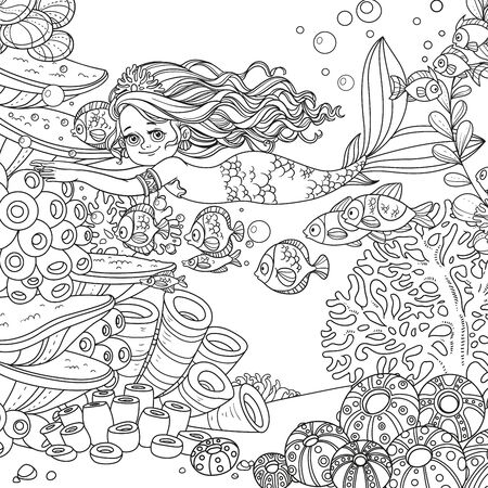 Beautiful little mermaid girl swim with fishes on underwater world with corals and anemones background outlined  イラスト・ベクター素材