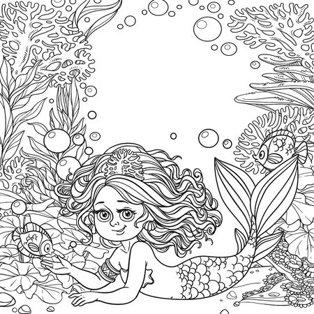 Beautiful mermaid girl lies on underwater world with corals