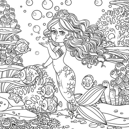 Beautiful mermaid girl sends an kiss underwater world with corals and fishes