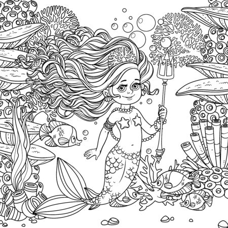 Beautiful mermaid girl surrounded by a fish holds a trident on underwater world with corals, seaweed and fishes