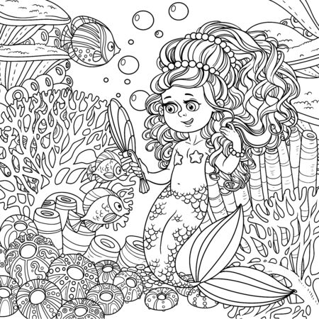 Cartoon little mermaid girl dancing with an octopus on underwater world