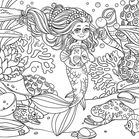 Cute little mermaid girl holds a pet fish on underwater world Ilustracja
