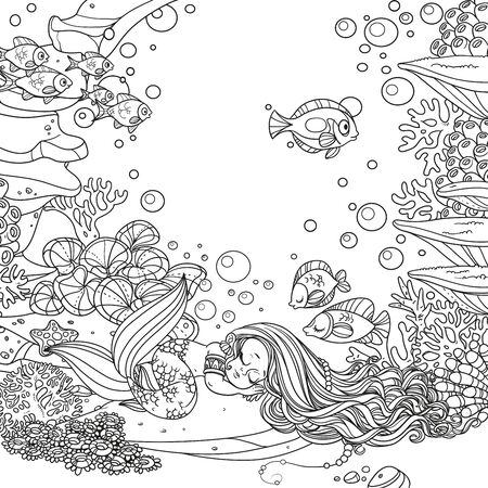 Cute little mermaid sleeps on a rock with corals on underwater world with corals and anemones background outlined  イラスト・ベクター素材