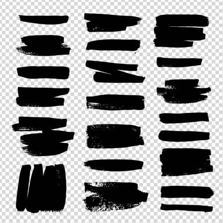 Short brush strokes black textured abstract set isolated on imitation transparent background