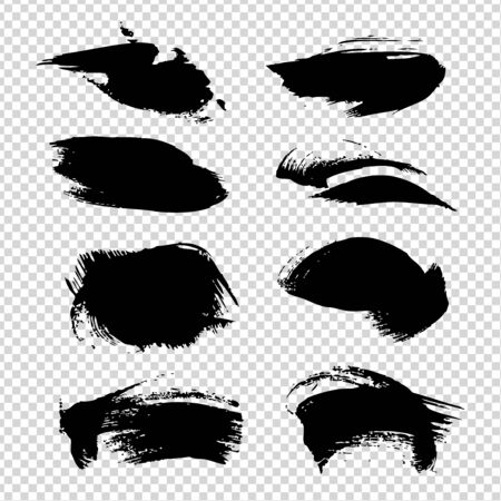 Textured abstract brush strokes isolated on imitation transparent