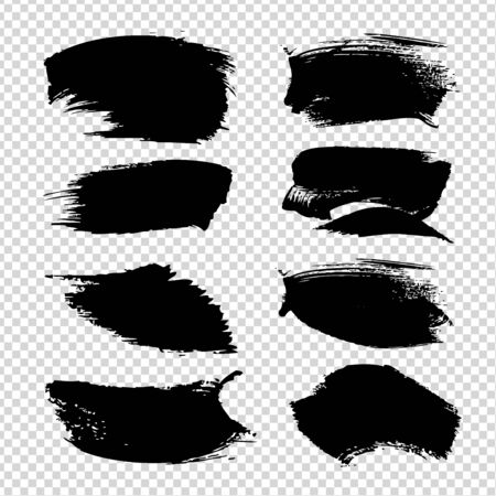 Abstract textured black brush strokes isolated on imitation transparent