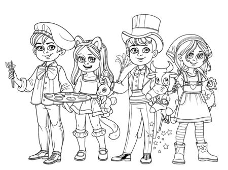 Children in carnival costumes of the artist, magician, cat and farmer girl outlined for coloring page