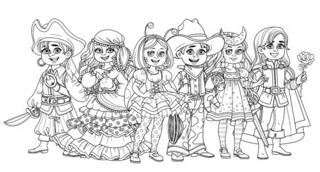 Children in carnival costumes pirate, fortune teller, prince, starry night, cowboy and ladybug characters outlined for coloring page