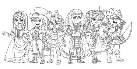 Children in carnival costumes princess, robin hood, egyptian pharaoh, unicorn, bee, leprechaun characters outlined for coloring page Çizim