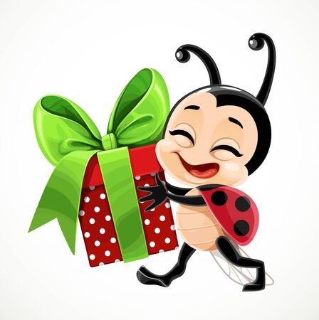 Cute cartoon little ladybug carries a gift in red box and with a green bow on white background