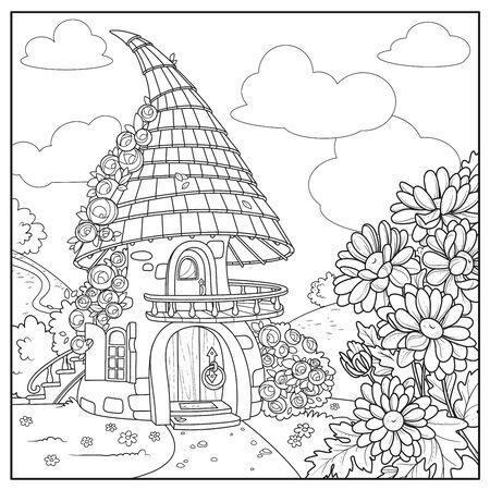 Maison de conte de fées d'été roses torsadées et balcon avec escalier du deuxième étage et toit de tuiles décrit isolé sur fond blanc