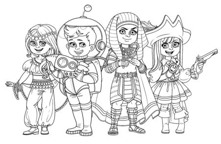 Children in carnival costumes of the eastern dancer, astronaut, egyptian pharaoh, pirate outlined for coloring page
