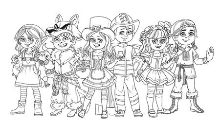 Children in carnival costumes farmer girl, werewolf, native american, leprechaun, fairy, fireman characters outlined for coloring page