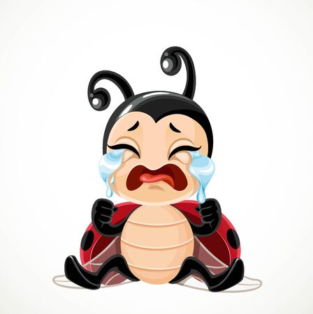 Cute cartoon little ladybug sitting on the floor and crying sobbing isolated on a white background