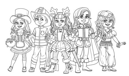 Children in carnival costumes of the Leprechaun, handsome prince, deer, oriental dancer, fireman outlined for coloring page