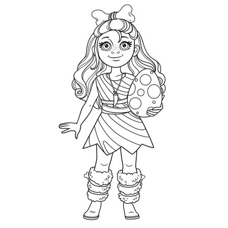 Cute girl in a suit of prehistoric man with bone in hair and dinosaur egg in her hands outlined for coloring page