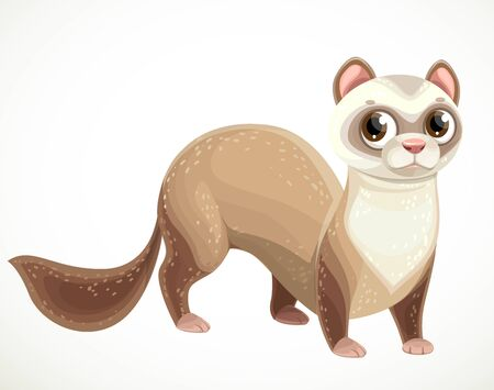 Cute cartoon beige ferret isolated on a white background