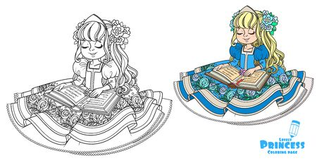 Beautiful princess in blue dress sitting and reading a book color and outlined picture for coloring book on white background