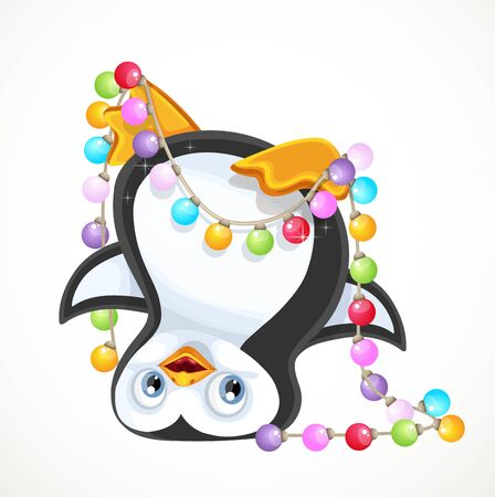 Cute penguinstanding on his head tangled in a New Year's garland isolated on white background Vectores