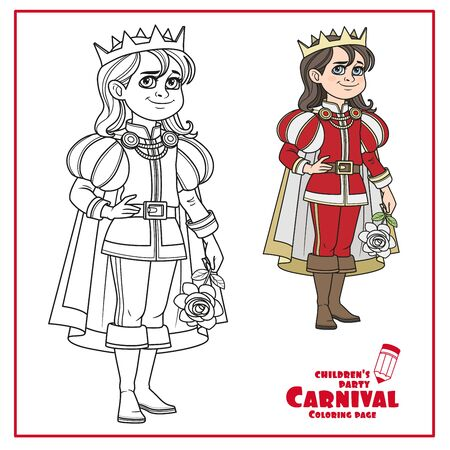 Cute boy in a prince suit with rose color and outlined for coloring page Illustration