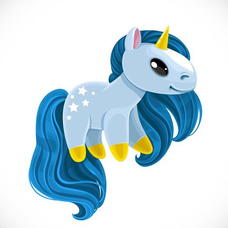 Cute cartoon toy magical unicorn with blue mane and stars on the rump isolated on white background