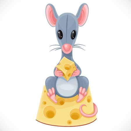 Cute cartoon toy gray rat hold piece of cheese and sits on a large piece of cheese isolated on white background