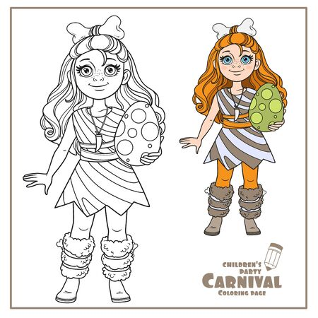 Cute girl in a suit of prehistoric man with bone in hair and dinosaur egg in her hands color and outlined for coloring page Illustration