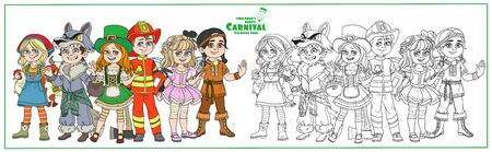 Children in carnival costumes farmer girl, werewolf, native american, leprechaun, fairy, fireman characters color and outlined for coloring page