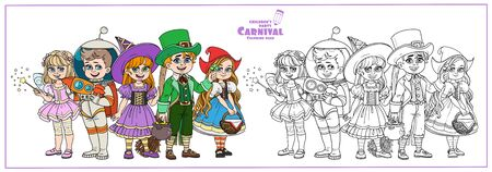 Children in carnival costumes of the fairy, leprechaun, astronaut, witch, little red riding hood color and outlined for coloring page